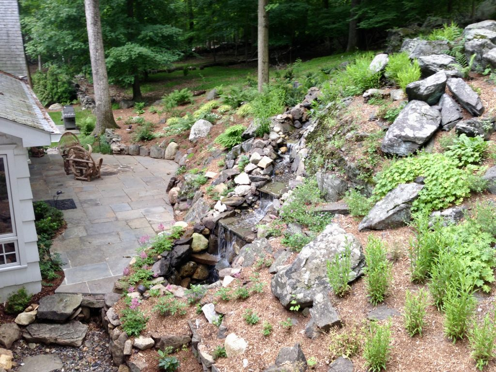 Landscaping a Slope – Turning a Grading and Drainage Problem into an Erosion Proof Composition – Westchester County
