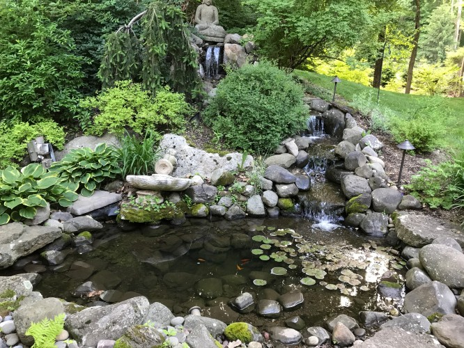 Landscape Construction in Bedford Hills; Natural Stone Staircase with Boulder Rail, Native Perennial Planting with Long Blooming Flowers for Fall