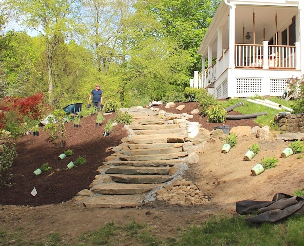 Clean Green Landscaping in Putnam Valley; From Design to Construction and Installation with Native Plants and Natural Stone