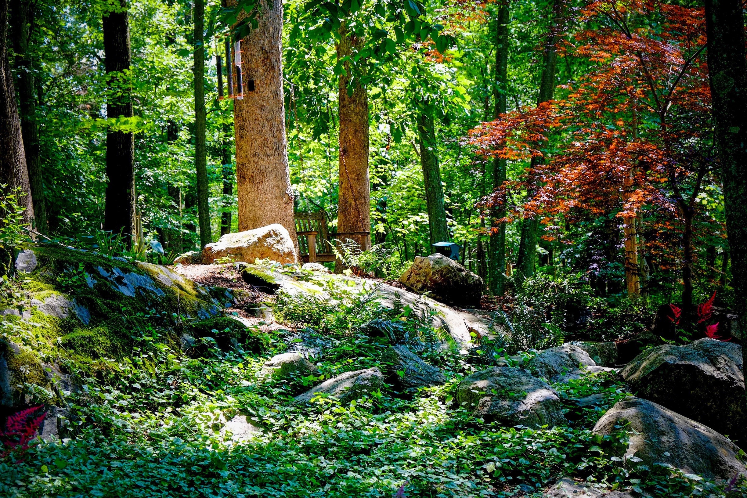 Natural Landscape Design With Earth Elements Stone Wood Water Bedford Hills New York Green Jay Landscaping