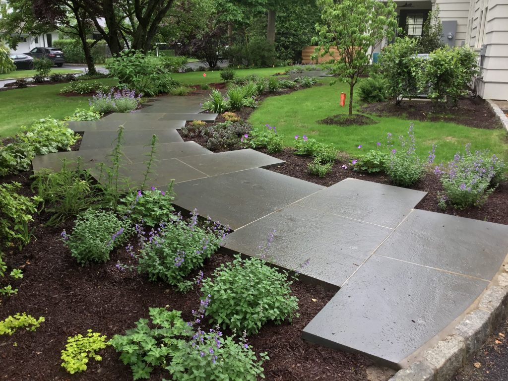 Pool Landscaping, Wetland Mitigation & Modern Bluestone Front Entrance | Riverside, CT