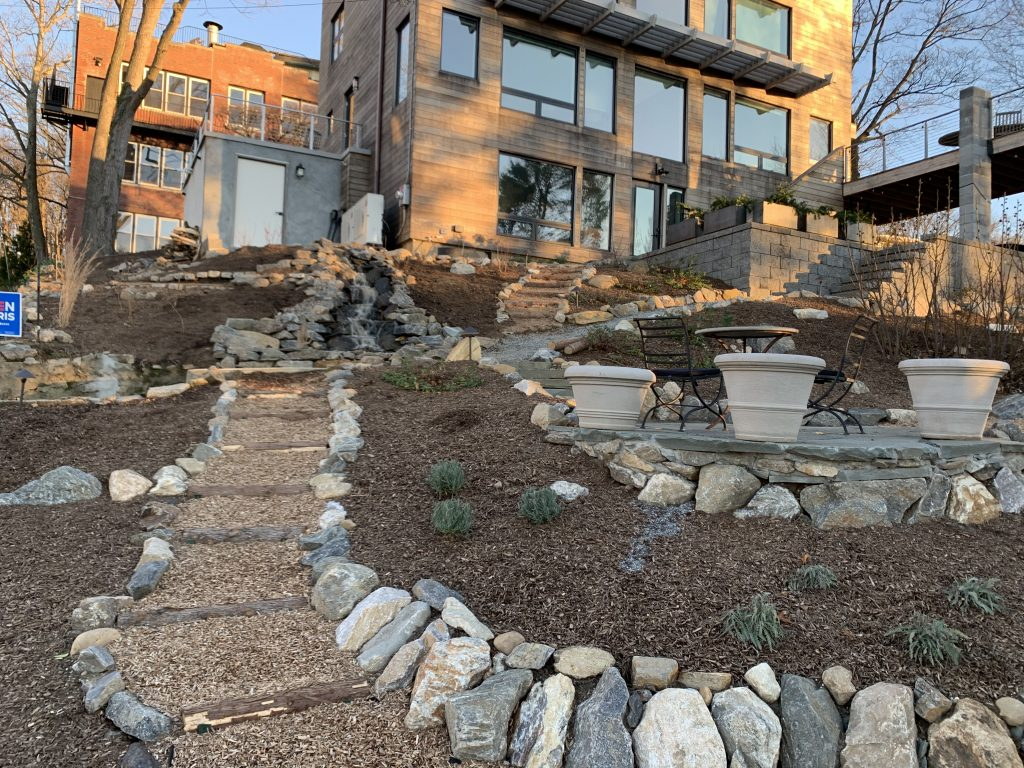 Terraced Native Gardens w. Water Feature & Natural Hardscape | Westchester, NY